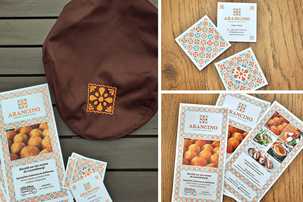 branding projects arancino-street-food-flyer-business-card-design-branding-food-truck-luxembourg