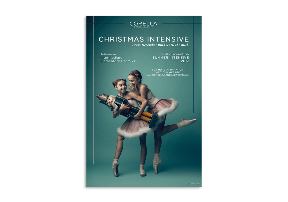 branding projects corella-dance-academy-cartel-navidad-logo-design-branding-barcelona