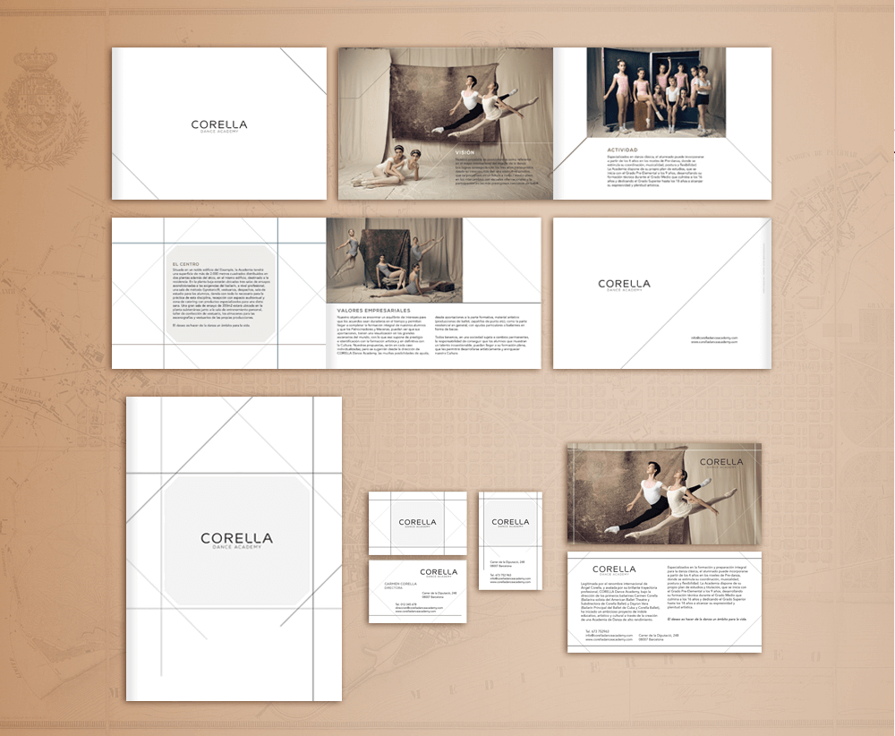 branding projects corella-dance-brochure-catalogo-stationery-academy-logo-design-brandin-barcelona.