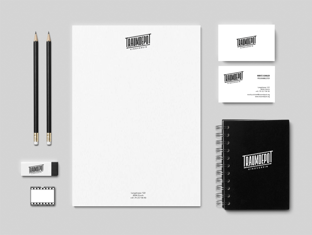 branding projects traumdepot-branding-stationery-cinema logo-swiss