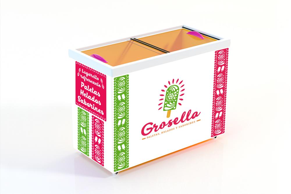grosella-paletas-helados-mexicanos-naturales-mexico-barcelona-logo-branding-diseño-grafico-nevera