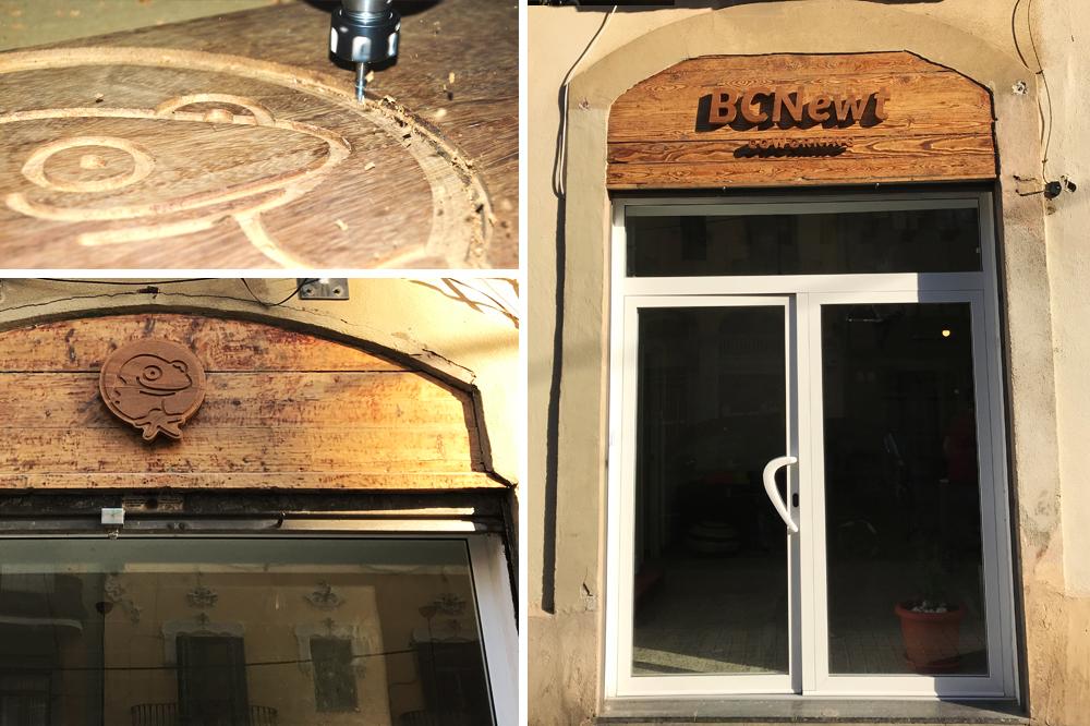 bcnewt-coworking-barcelona-logotipo-logo-branding-diseño-grafico-salamandra-letrero-puerta-madera