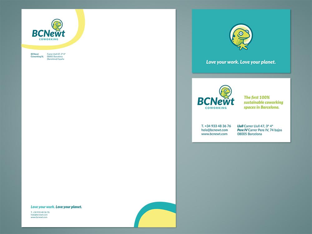 bcnewt-coworking-barcelona-logotipo-logo-branding-diseño-grafico-tarjetas-visita-hoja-carta-salamandra